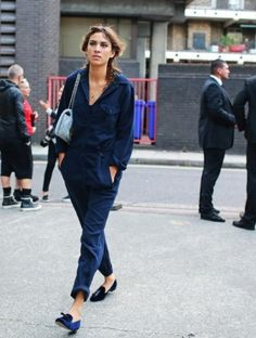 Blue jumpsuit and smoking slippers,  Alexa Chung