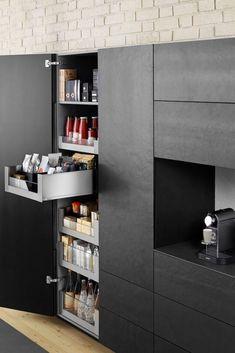 Storage cupboard 2 Space Tower by Blum - That& how convenient your new storage cupboard can be Dark Kitchen, Kitchen Design, Black Kitchens, Sweet Home, Kitchen Decor, Cupboard Storage, Kitchen Plans, Home Decor, Kitchen Cupboards
