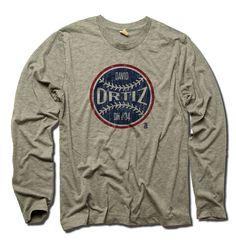 David Ortiz MLBPA Officially Licensed Boston Long Sleeve Shirt S-3XL David Ortiz Ball B