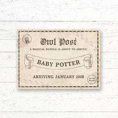 Harry Potter Owl Post Bridal Shower or Baby Shower Printable Invitation by CrissyDesignCo Harry Potter Owl, Harry Potter Baby Shower, Harry Potter Wedding, Harry Potter Theme, Harry Potter Birthday, Halloween Bridal Showers, Baby Animal Games, Harry Potter Printables, Baby Announcement Cards