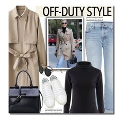 """""""How to Rock Off-Duty Model Style"""" by beebeely-look ❤ liked on Polyvore featuring 7 For All Mankind, Yves Saint Laurent, GetTheLook, sneakers, trenchcoat, offduty and twinkledeals"""