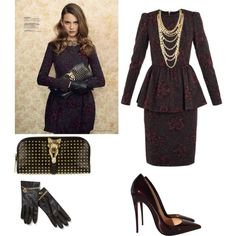 Peplum Dress!!!! by cogic-fashion on Polyvore featuring Burberry, Christian Louboutin, Virgins Saints & Angels and C. Wonder