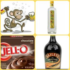 Drunken Monkey Pudding Shots 1 small Pkg. chocolate instant pudding 3/4 Cup Milk 1/2 Cup 99 Bananas Schnapps 1/4 Cup Irish Cream 8oz tub Cool Whip Directions 1. Whisk together the milk, liquor, and instant pudding mix in a bowl until combined. 2. Add cool whip a little at a time with whisk. 3 Spoon the pudding mixture into shot glasses, disposable shot cups or 1 or 2 ounce cups with lids. Place in freezer for at least 2 hours