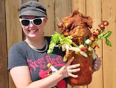 Here Is A Bloody Mary Garnished With An Entire Fried Chicken