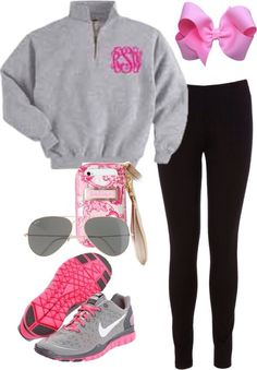 ~monogrammed sweatshirt, bow, aviator sunglasses, phone case, Nike shoes~