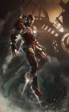 Genius billionaire inventor, industrialist, and CEO of Stark Industries Tony Stark builds an armored suit and becomes the armor-clad superhero named Iron Man. Comic Book Characters, Comic Book Heroes, Marvel Characters, Comic Character, Comic Books Art, Comic Art, Book Art, Marvel Avengers, Marvel Comics Art