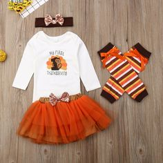 Halloween Infant Baby Girl Outfits 1st Thanksgiving Turkey Long Sleeve Romper Tulle Tutu Skirt Headband 3pcs Clothes Set