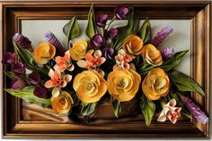 Handmade Leather Violet, Yellow Flowers Art Bouquet  Size: (73cm x 49cm)  Frame: Solid Wood, Stained  Colors: Violet,Yellow,Green, Grey, Gold, Brown,Salmon  Material: Genuine Leather     MaK Marketplace Presents  Handcrafted Leather Wall Hanging Art - Handmade Leather Flowers  Every Art work takes a lot of time and work, beautiful design with highest quality.   The Artwork is original. Each product is unique and one of a kind. Custom made.