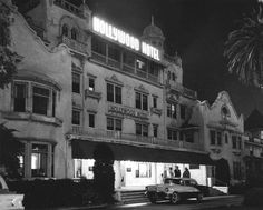 """A noirish shot of the """"Hollywood Hotel"""" which stood on the corner of Hollywood and Highland from 1902 to 1956 (via Vintage Los Angeles)"""