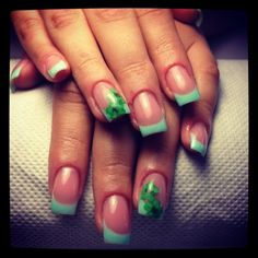 Green french beautiful nails with flowers