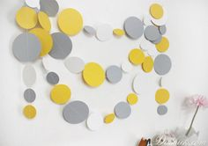 ~ Yellow Gray White Paper Garland, Kids Room Wall Decor ~  You can decorate any space with it - not only the kids room, but also the party walls or table, your bedroom, living room or even your workspace. Add a nice touch to your party with this gentle paper garland!  This totally handmade paper garland consists of numerous circles, made of yellow, gray and white cardstock, stitched together with threat in suitable color.  ----- Size of the circles: 8cm, 6cm and 4cm Length: You can choose…