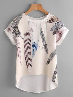 Floral Print Batwing Sleeve Dip Hem Top