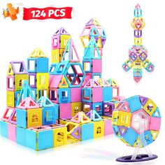 HOMOFY 124PCS Magnetic Building Blocks Magnet Tiles Early Educational and Development Toys for 3 4 5 6 7 Years Old Boys Girls Gifts * Find out more about the great product at the image link. (This is an affiliate link)