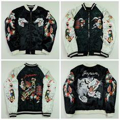 Japanese Vintage Geisha Maiko Oiran White Tiger Black Dragon Pagoda Fuji JAPAN MAP Embroidery Quilted Satin Sukajan Souvenir Jacket - Japan Lover Me Store