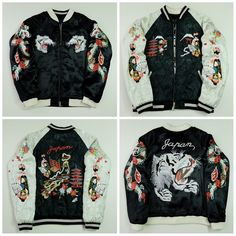 Japanese Vintage Geisha Maiko Oiran White Tiger Black Dragon Pagoda Fuji JAPAN MAP Embroidery Quilted Satin Sukajan Souvenir Jacket - Japan Lover Me Store