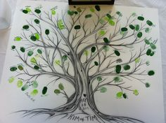 A friend of mine recently did this at her wedding and I LOVE it. All the guests put their thumb print as a leaf on the tree and wrote their name next to it. I thought it was a great alternative to a guest book, and it would be so awesome to display as a unique piece of art in your new home!