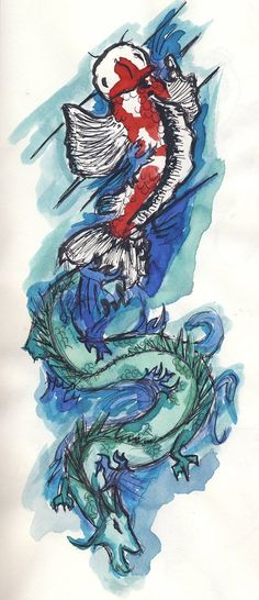 Koi Fish Dragon Tattoo Concept