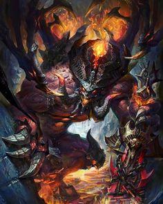 Great demon -- Share via Artstation iOS App, Artstation © 2015 Fantasy Demon, Fantasy Beasts, Fantasy Monster, Dark Fantasy Art, Fantasy Artwork, Dark Art, Monster Concept Art, Monster Art, Dark Creatures