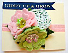 Felt Flower Headband  St Patricks Day Shamrock by giddyupandgrow, $23.00