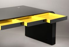 Desk Black Tank Desk by Signalement sold on private auction in Europe Contemporary Desk, Black Desk, Auction, Europe, Furniture, Home Decor, Black Table, Black Office, Modern Desk