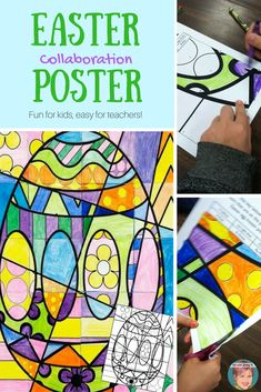 Involve everyone in your classroom with this collaborative Easter poster. It's a great Easter activity for kids. Fun for kids, easy for teachers! #artwithjennyk #eastercoloring #easteractivitiesforkids