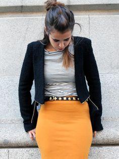 Pencil Skirt Outfits   WhatsTrend Blog » Mustard Pencil Skirt
