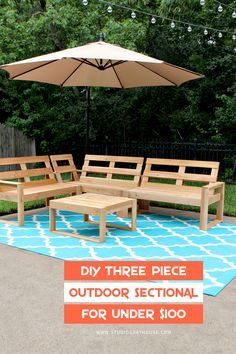 Build this DIY three piece outdoor sectional for under $100! The entire sectional and outdoor coffee table are built out of cedar fence pickets!
