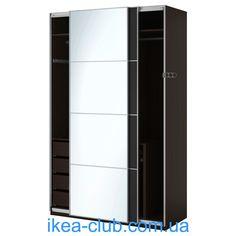 ИКЕА (IKEA) CLUB | 290.313.60, ПАКС, Шкаф платяной, черно-коричневый, Аулы Ilseng, 150x66x236 см