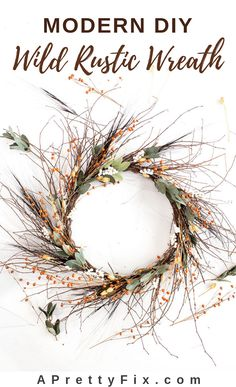 SIMPLY FALL: Wild Rustic Wreath DIY - A Pretty Fix Add some autumn vibes this season with this simple wild rustic wreath diy. Diy Craft Projects, Decor Crafts, Home Crafts, Wreaths Crafts, Craft Ideas, Fun Ideas, Fall Wreaths, Christmas Wreaths, Rustic Wreaths