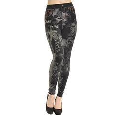 Angelina Ladys Faux Jean Leggings Faded Black One Size >>> See this great product.