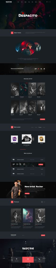 Musicque - Music Band Event PSD Template #music player #music studio #musician • Download ➝ https://themeforest.net/item/musicque-music-band-event-psd-template/20561817?ref=pxcr