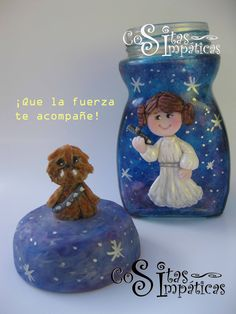 Frasco princesa Leia de Star Wars.  Hecho por Cositas Simpáticas en porcelana fría ^_^.