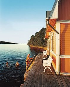 Take note: deck directly into the water, no rails. Clean living: A seaside sauna on Föglö, one of islands in the Åland Archipelago, which spans the north Baltic Sea between Finland and Sweden Future House, My House, Dock House, Lakeside Living, Water House, Lake Cabins, Deck, Cabins In The Woods, Lake Life