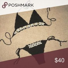 Black Crochet Seashell Bikini One Size fits all - adjustable and versatile crochet bikini. Refer to listing of the white one in my closet to see what it looks like on. Swim Bikinis