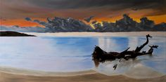 """Oil painting titled """"Varadero, Cuba - Sunrise After The Storm"""", done on a 12"""" x 24"""" x 3/4"""" canvas. Not available."""