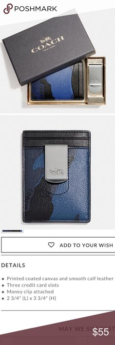 """Coach Camo card case and money clip gift set Printed coated canvas and smooth calf leather card case with blue camouflage print. Three credit card slots, money clip attached, 2 3/4""""L x 3 3/4""""H Coach Accessories Key & Card Holders"""