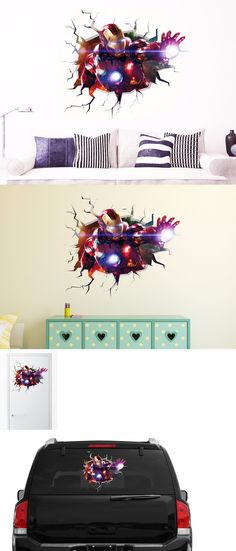 household items: Iron Man Wall Decal Sticker Vinyl Decor Car Door Art Mural Smashed 3D -> BUY IT NOW ONLY: $38.99 on eBay!