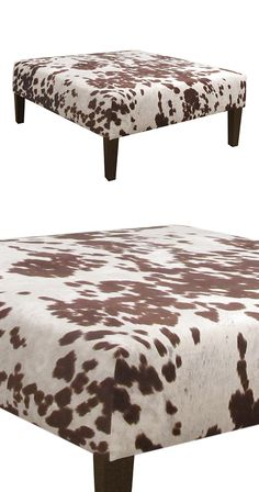 Saddle up! Covered in printed faux-hide upholstery, this charming Herder Cocktail Ottoman is the perfect piece for perfecting your Southwestern-themed living space. With an amply padded surface, this v...  Find the Herder Cocktail Ottoman, as seen in the Urban Cowboy Nashville Collection at http://dotandbo.com/collections/urban-cowboy-nashville?utm_source=pinterest&utm_medium=organic&db_sku=119878