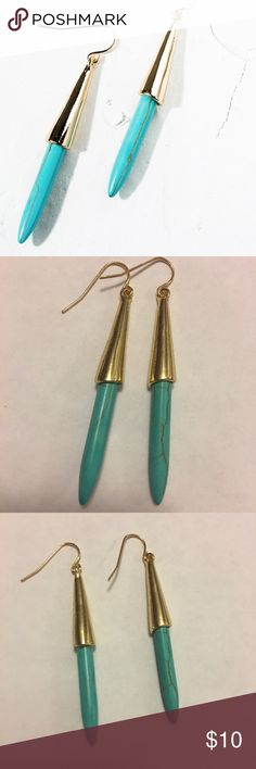 """Natural Turquoise Drop Earrings Natural Turquoise Drop Earrings with vintage gold accent.  Material: Zinc Alloy, Length: 2"""" Beach Wave Jewelry Earrings"""