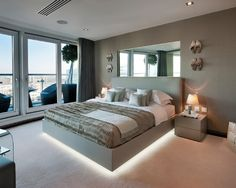 Mirror Over Bed Home Lighting Design Contemporary Bedroom Modern Beds