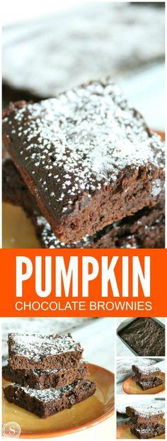 Pumpkin Chocolate Brownies! Super easy dessert recipe for Fall! Pumpkin Treats, YES PLEASE!