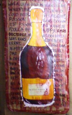 """""""Champagner Bottle Red"""" with Riddles  no build up plastic 200cm height to100cm"""