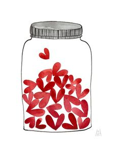 Jar of Love No. 38 - watercolor painting. gollybard, etsy