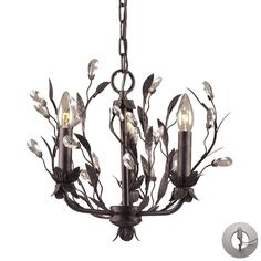 Circeo 3 Light Chandelier In Deep Rust And Crystal Droplets - Includes Recessed Lighting Kit 8058/3-LA