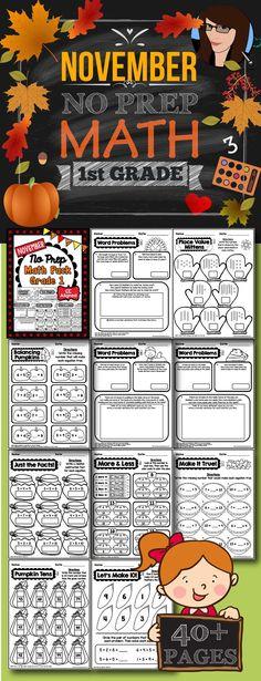November No Prep Math Pack - 1st Grade