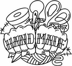 Wear your craftiness loud and proud with this tattoo-style design! Downloads as a PDF. Use pattern transfer paper to trace design for hand-stitching.