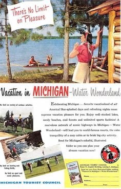 vintage Michigan tourism - I remember when Winter Water Wonderland used to be on our license plates!