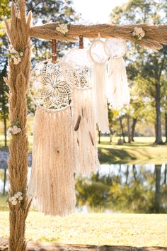 Whimsical Dream Catchers and Floral, River Grass Ceremony Arch