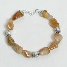 Citrine Gemstone and Silver Bracelet (B0030)