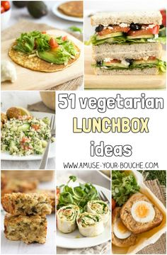 51 vegetarian lunchbox ideas for the perfect veggie packed lunch! Tons of original ideas for back-to-school, with sandwiches, salads, pastries, and more!
